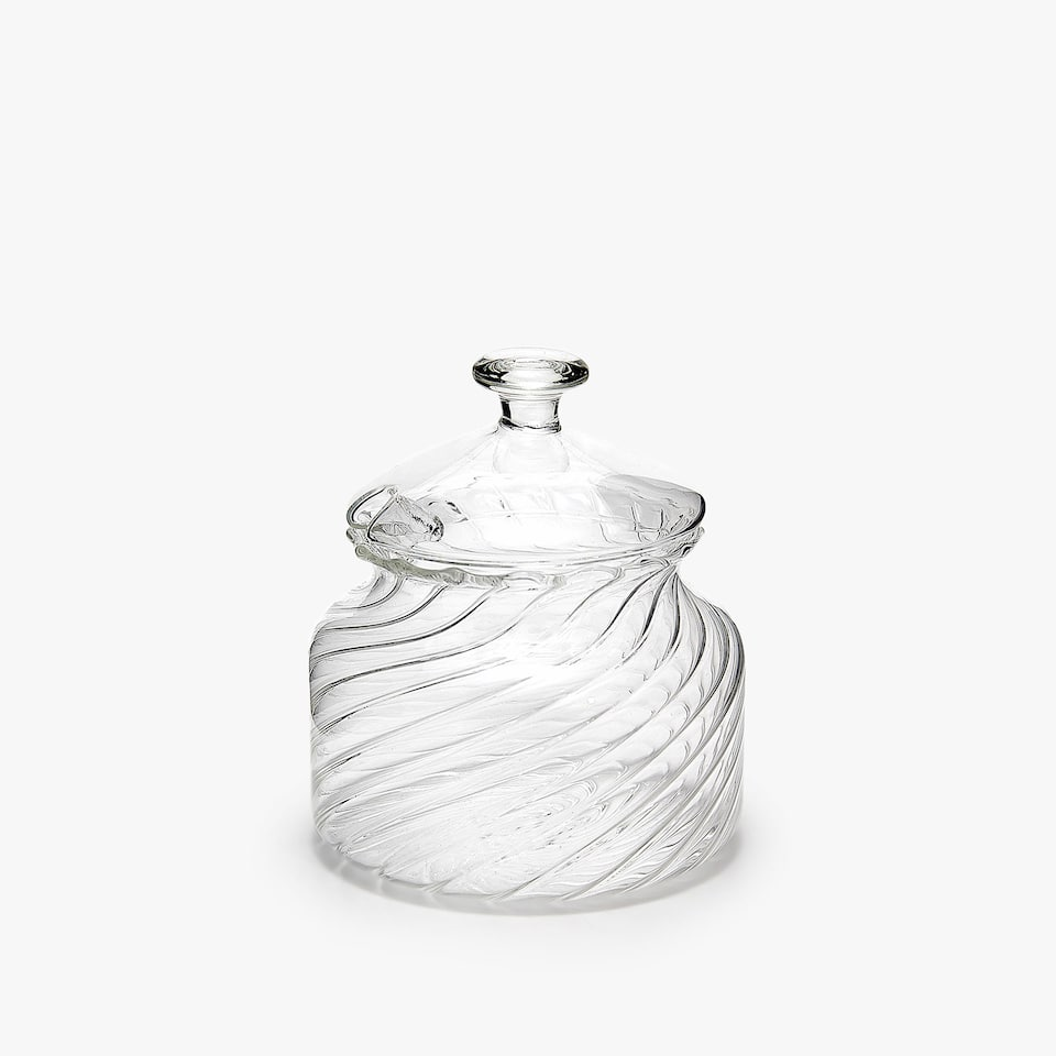 WAVY CLEAR BOROSILICATE GLASS SUGAR BOWL