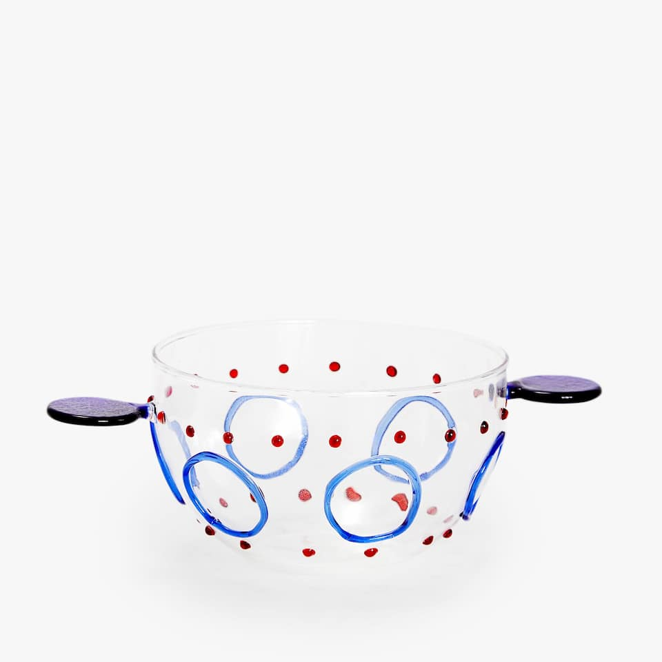 BOROSILICATE GLASS BOWL DECORATED WITH STRIPE AND POLKA DOTS