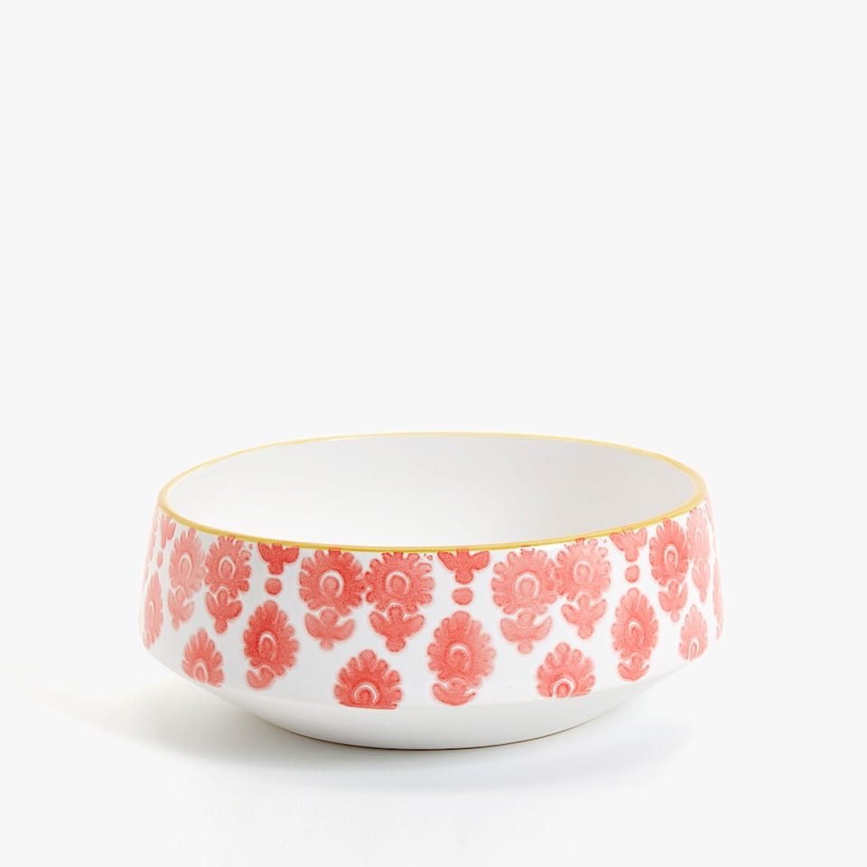 SMALL FLORAL EARTHENWARE SALAD BOWL
