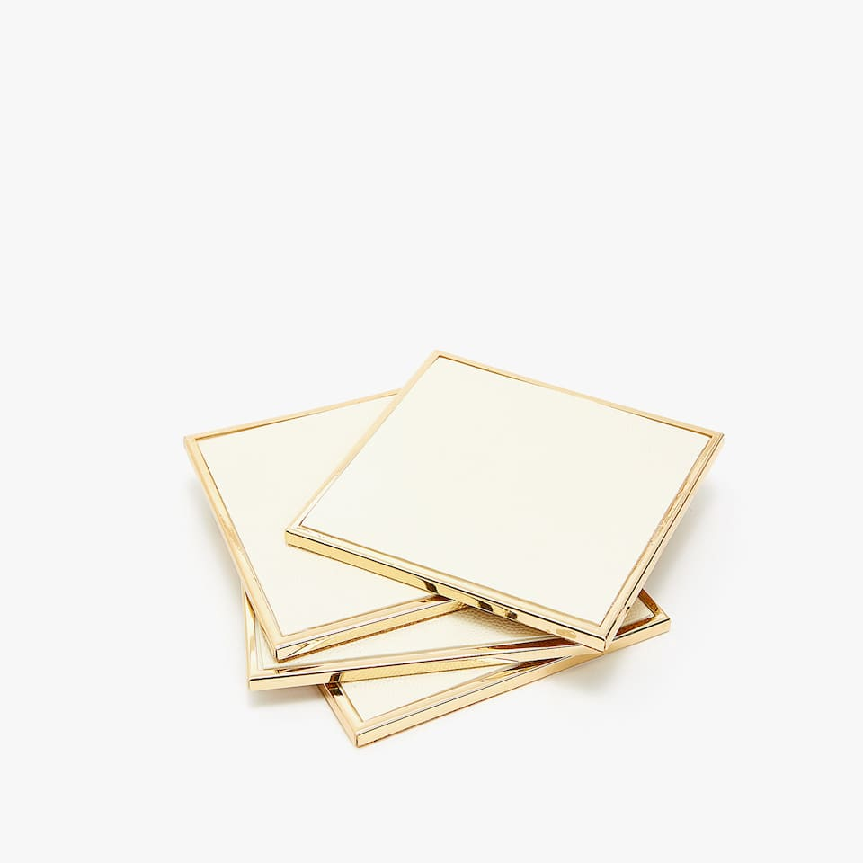 GOLD FAUX LEATHER-EFFECT COASTERS (SET OF 4)