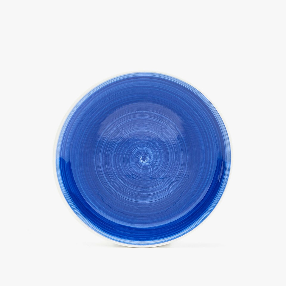 EARTHENWARE DESSERT PLATE WITH A SPIRAL DESIGN