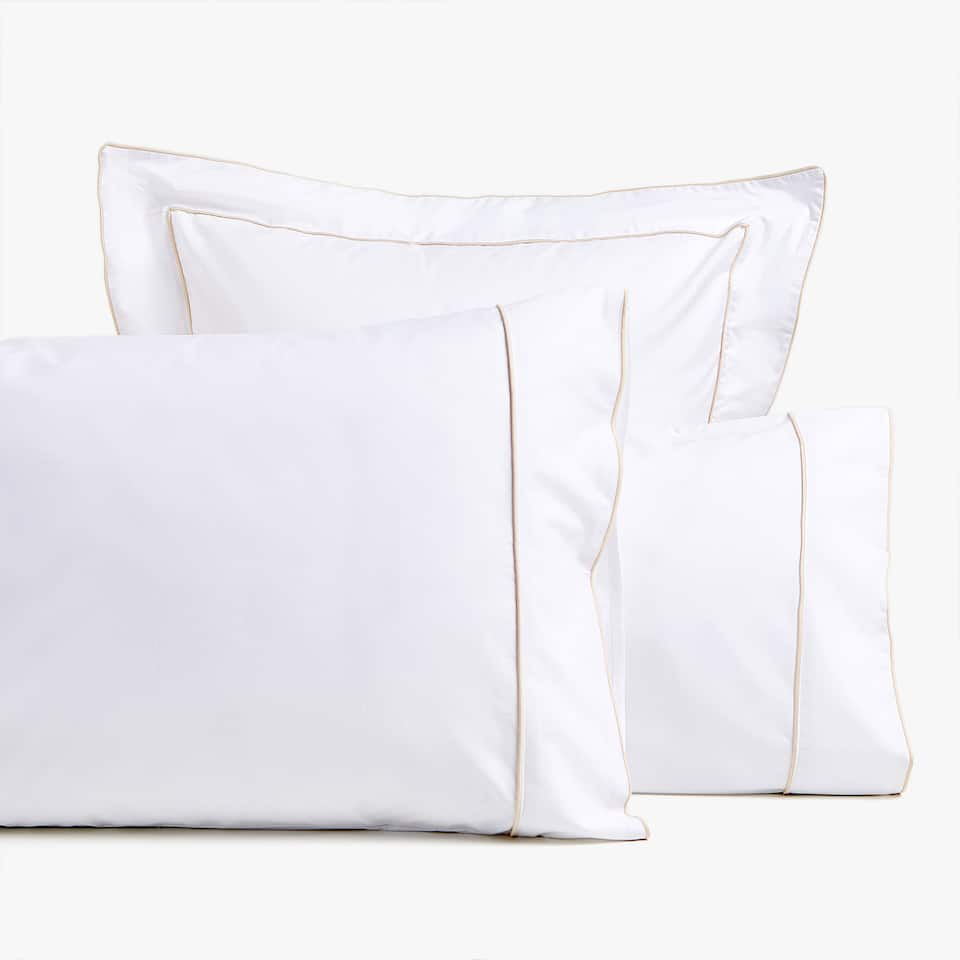 COTTON PERCALE PILLOWCASE WITH PIPING