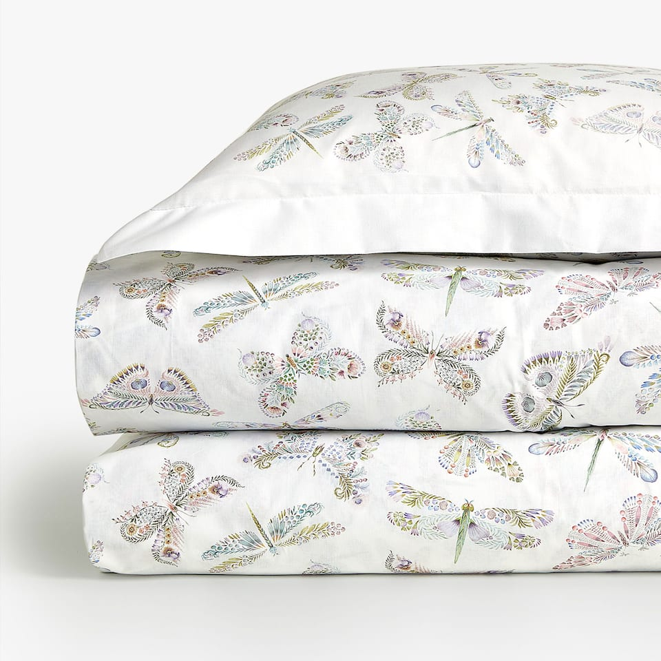 REVERSIBLE BUTTERFLY PRINT DUVET COVER