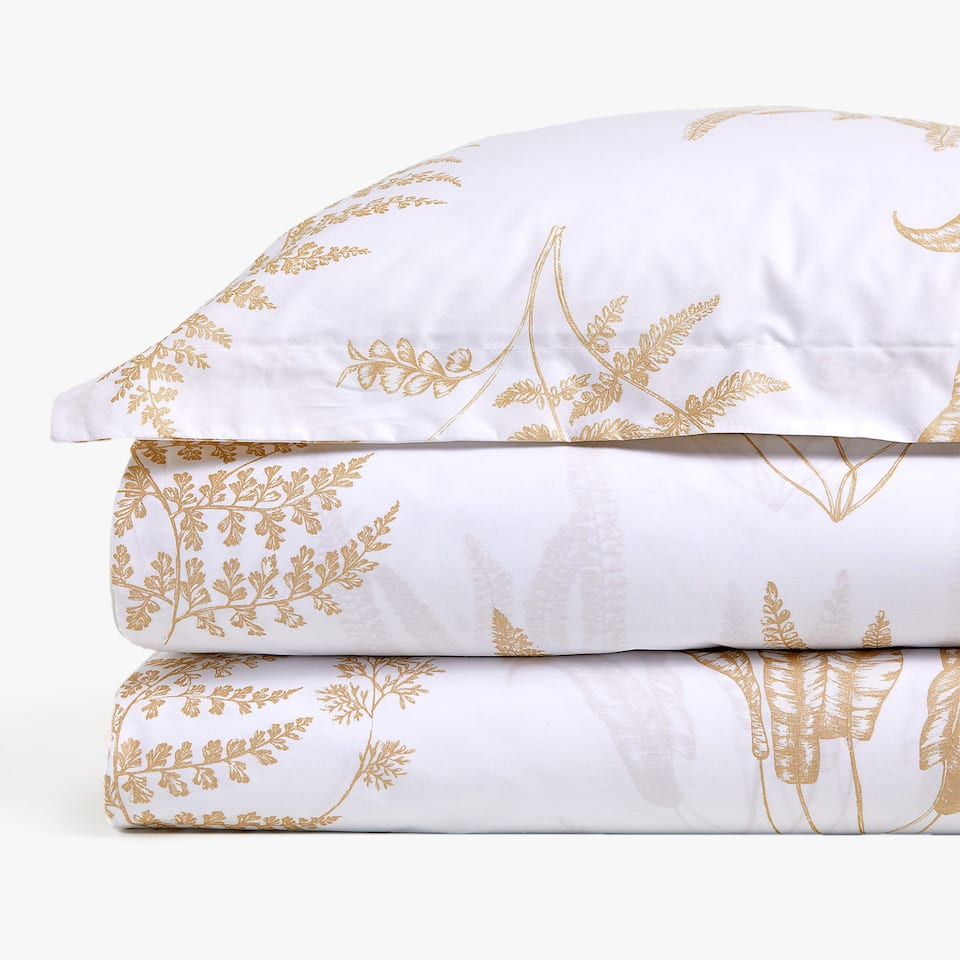 MONOCHROME LEAF PRINT DUVET COVER