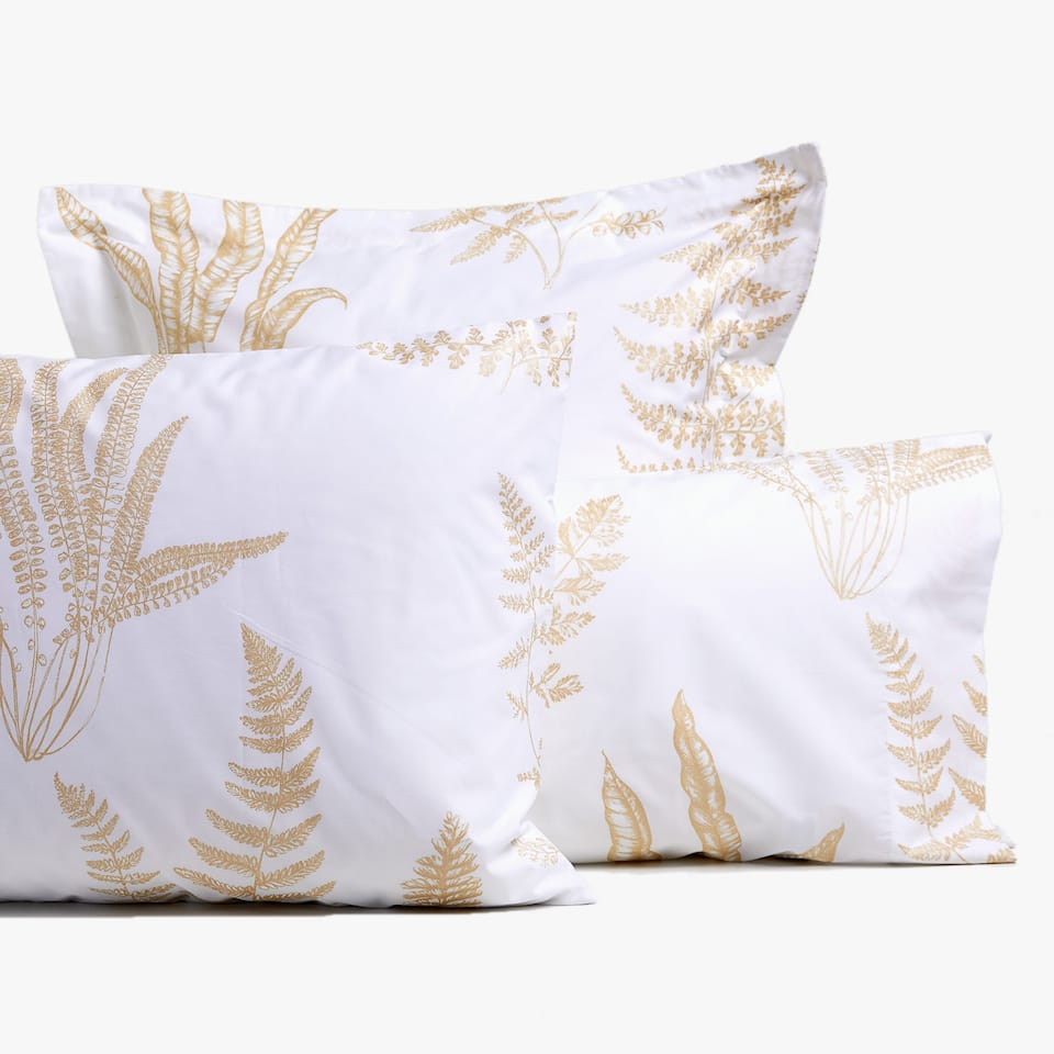 MONOCHROME LEAF PRINT PILLOWCASE