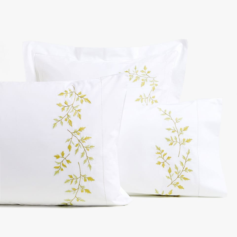 EMBROIDERED FERN PILLOWCASE