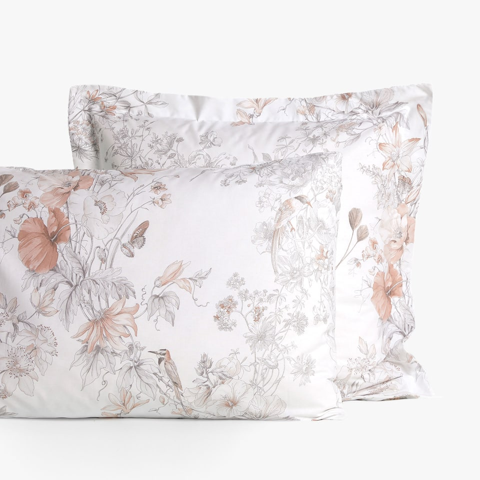 FLOWER AND BIRD PRINT PILLOWCASE