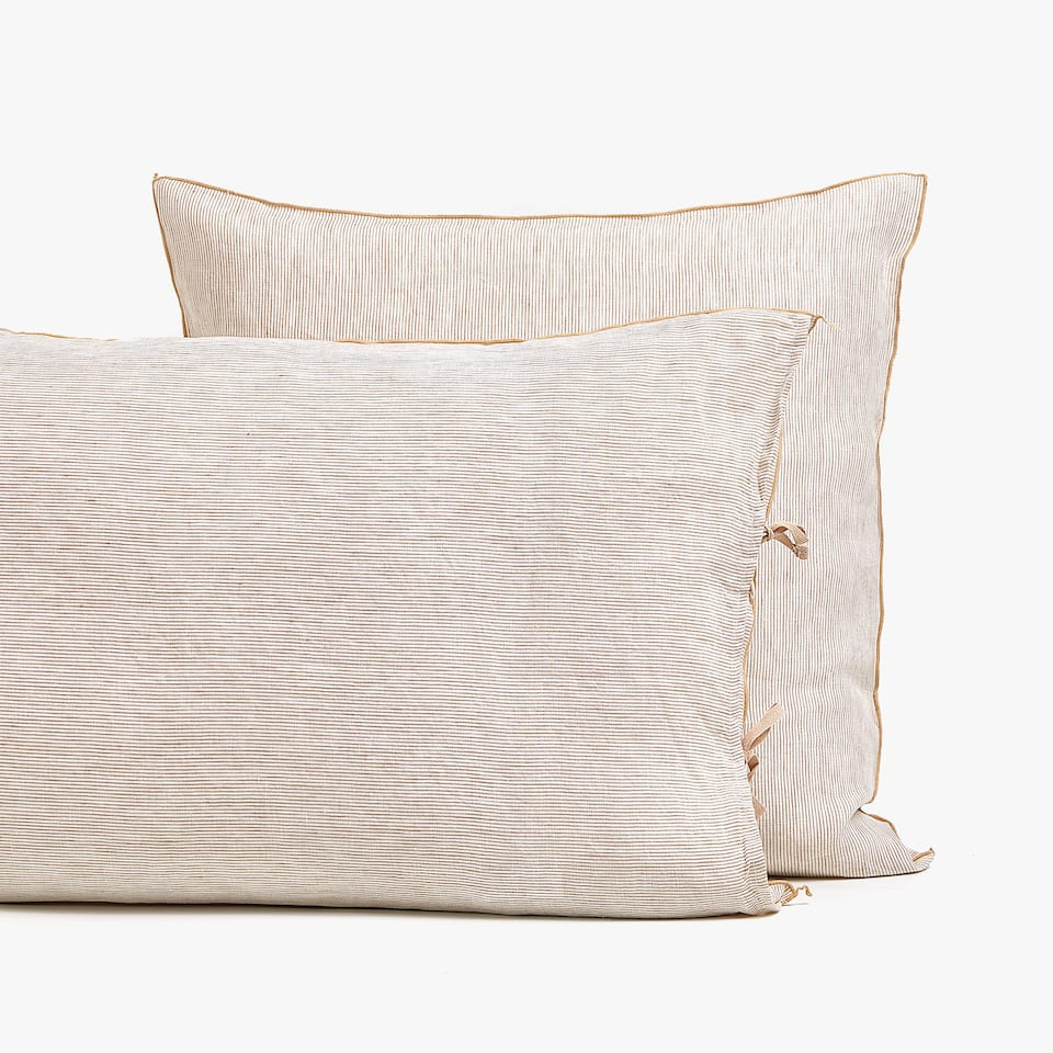 BEIGE STRIPED LINEN PILLOWCASE