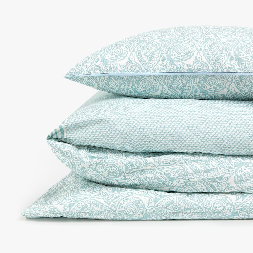 SEA GREEN PRINTED DUVET COVER