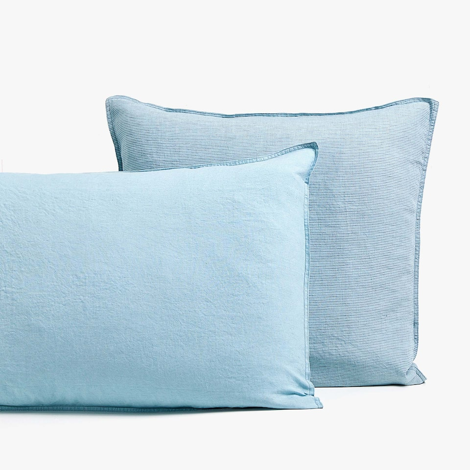 BLUE LINEN PILLOWCASE