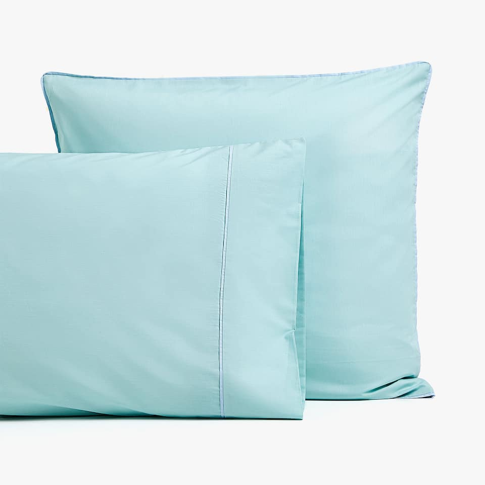 GREEN POPLIN PILLOWCASE