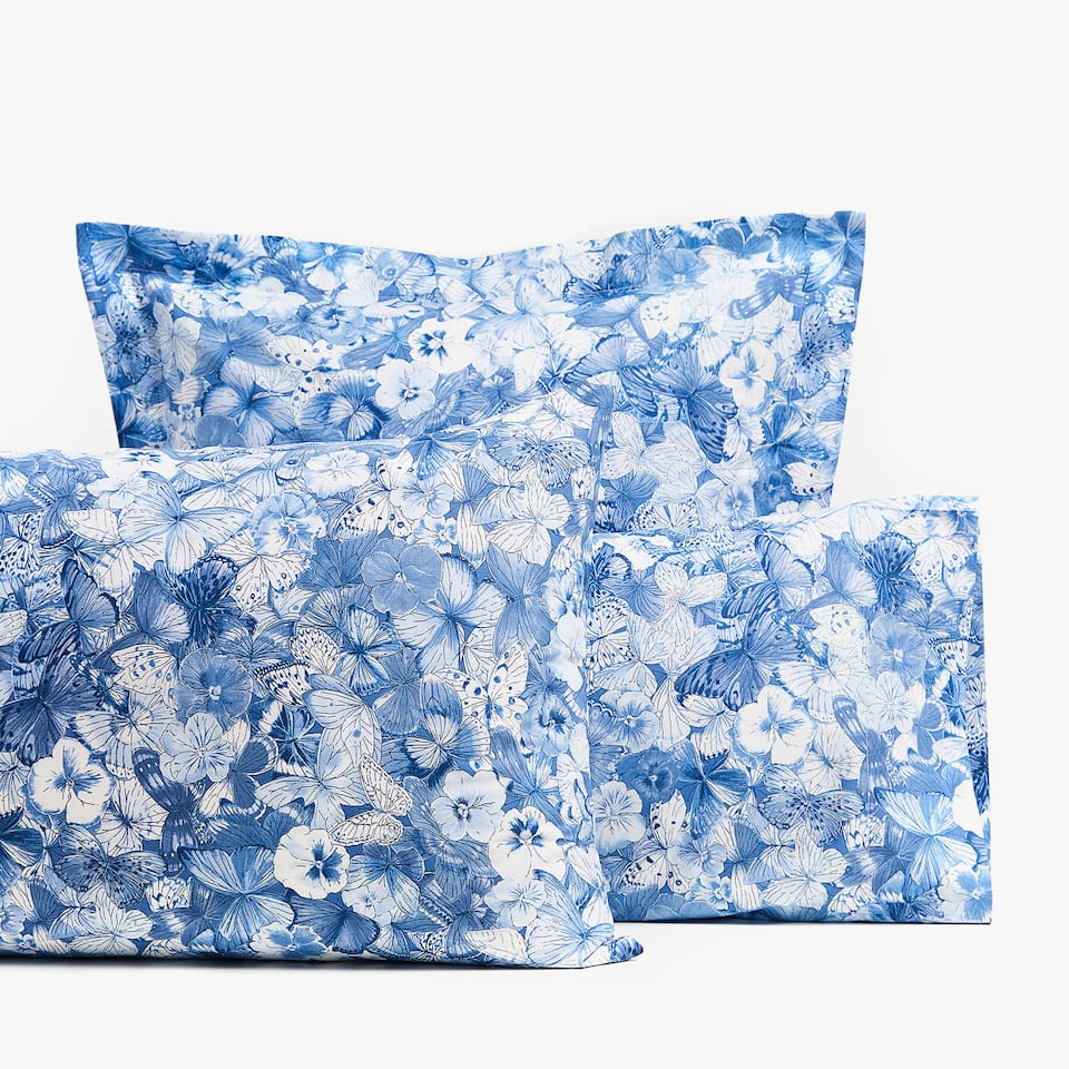 FLOWER AND BUTTERFLY PRINT PILLOWCASE