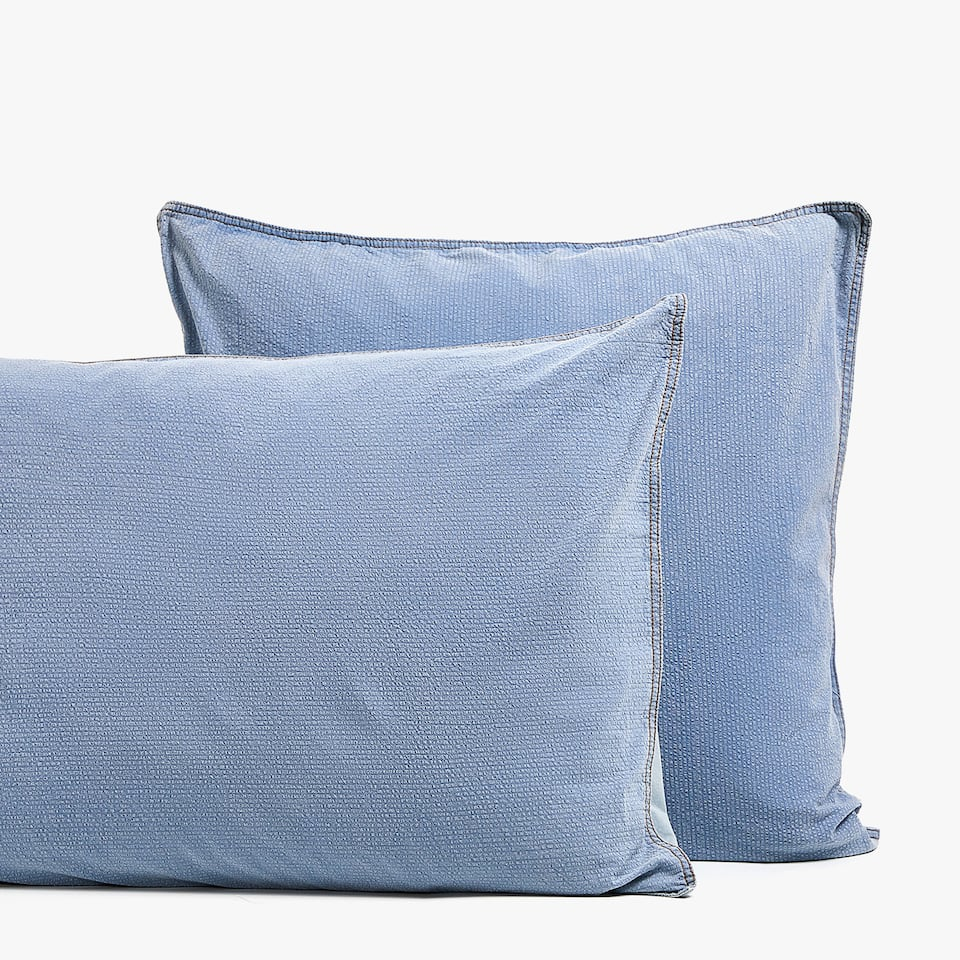 FADED SEERSUCKER DENIM PILLOWCASE