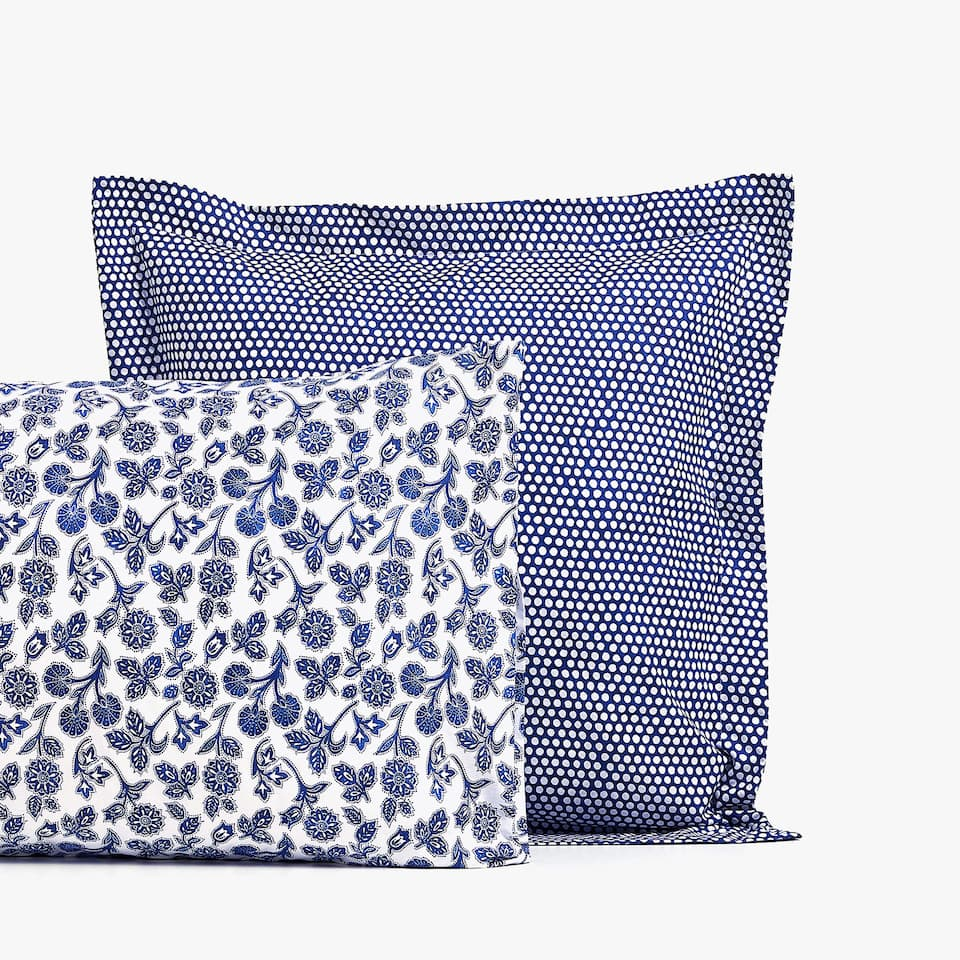 FLORAL AND POLKA DOT PRINT PILLOWCASE