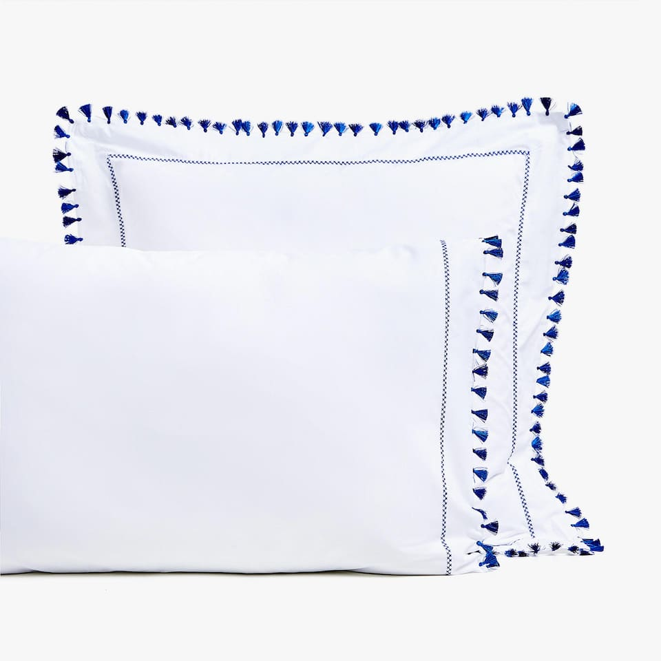 BLUE TASSEL PILLOWCASE