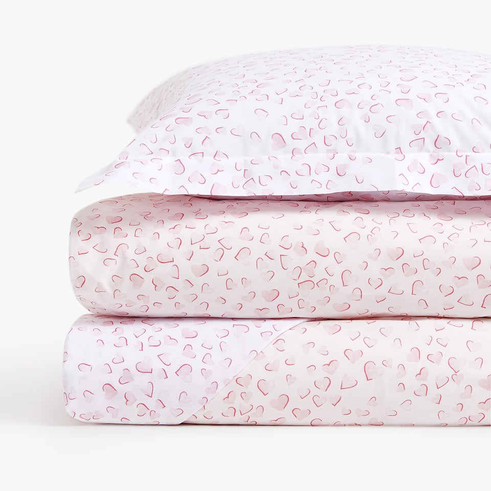 REVERSIBLE HEARTS PERCALE DUVET COVER