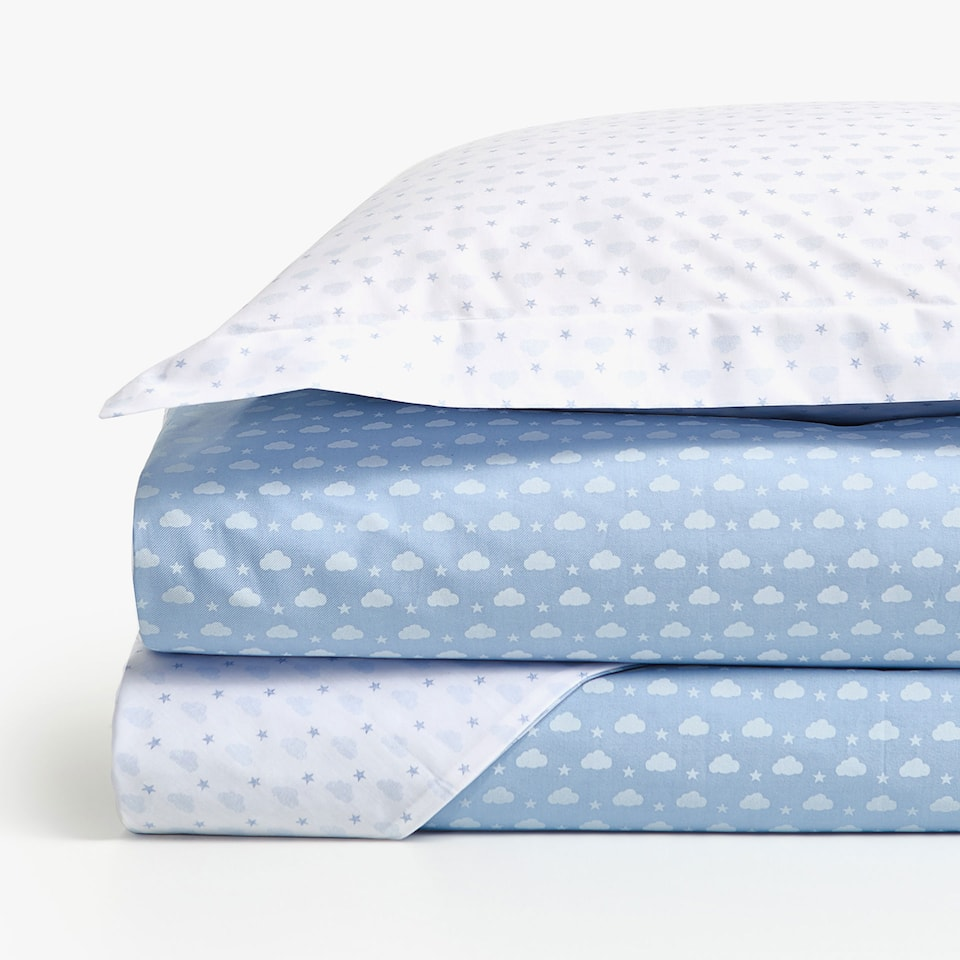 REVERSIBLE DENIM CLOUD PRINT DUVET COVER