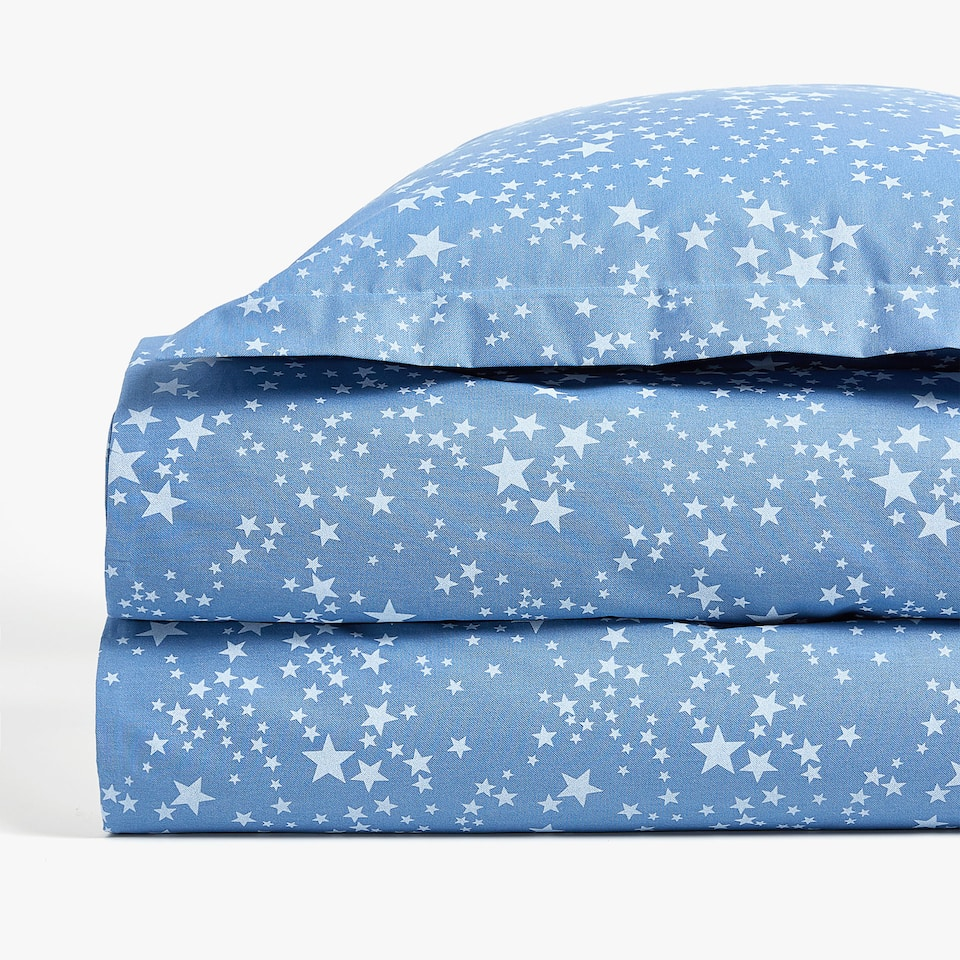 DENIM STAR PRINT DUVET COVER