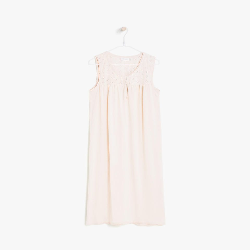 SHORT SLEEVE EMBROIDERED COTTON NIGHTGOWN