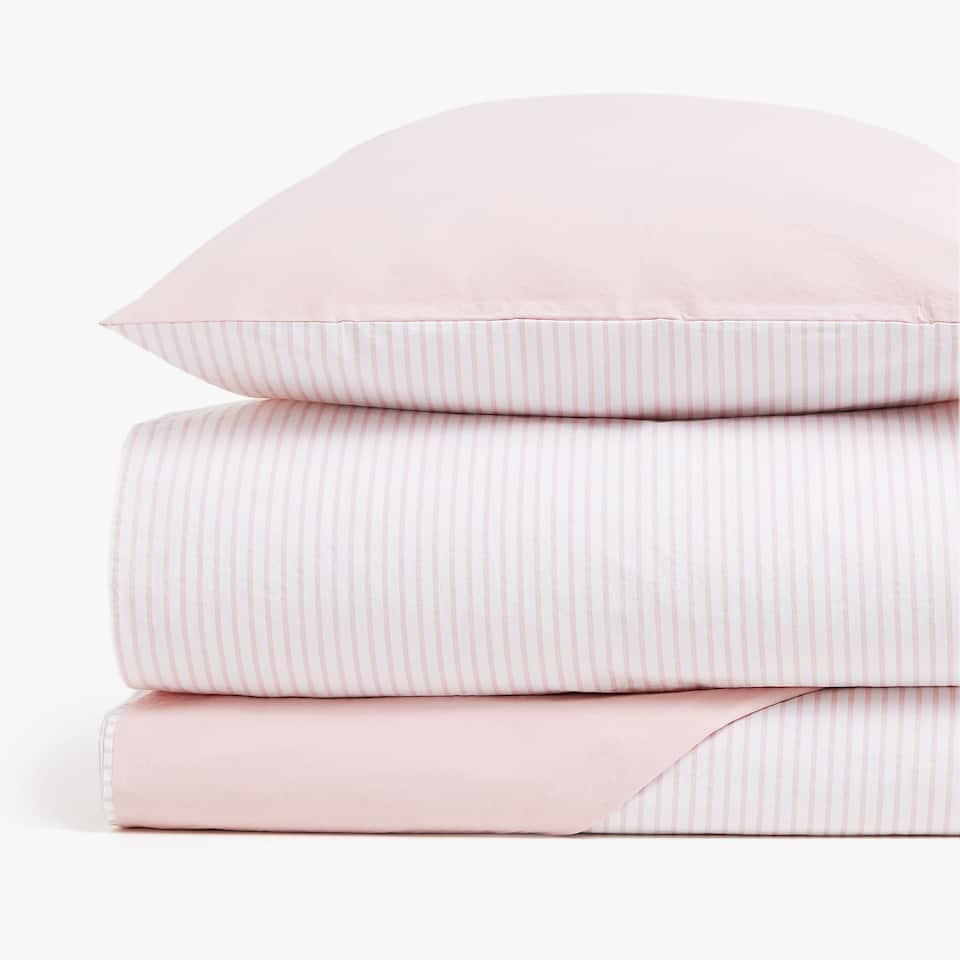 STRIPED REVERSIBLE PERCALE DUVET COVER