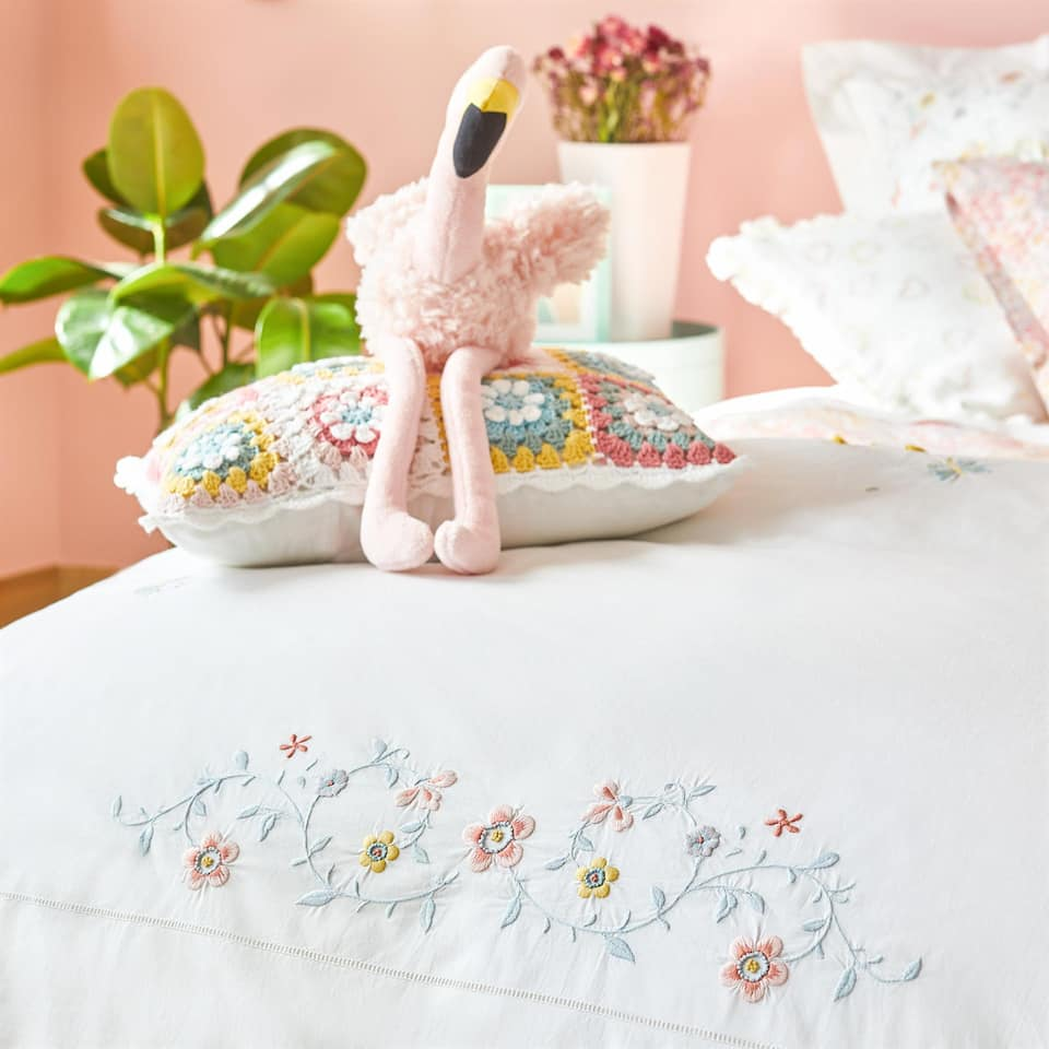 PERCALE DUVET COVER WITH FLORAL EMBROIDERY