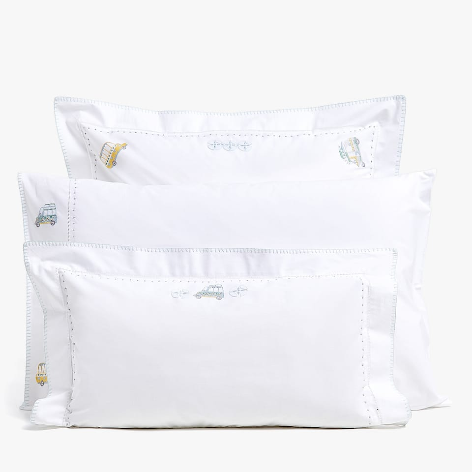 PERCALE PILLOWCASE WITH CAR EMBROIDERY