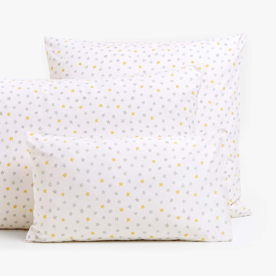 MULTICOLOURED STAR PRINT PILLOWCASE