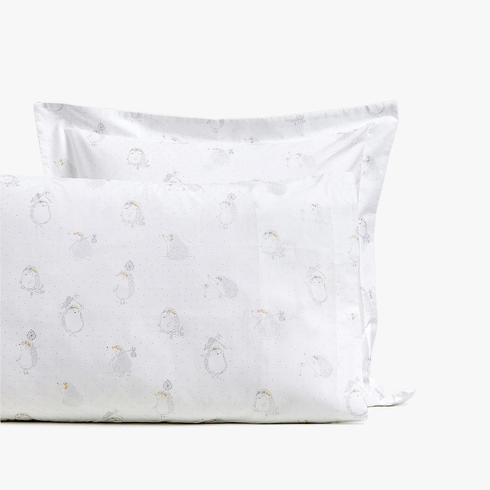 HEDGEHOG PRINT PERCALE PILLOWCASE