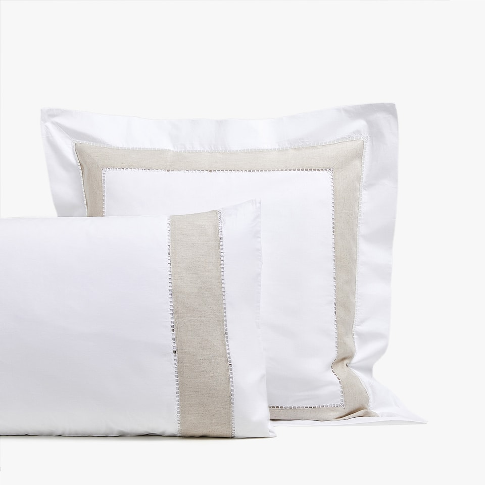 Contrasting natural linen pillowcase