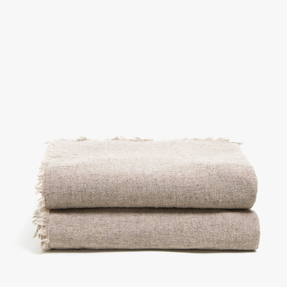 PLAIN LINEN AND WOOL BLEND BLANKET