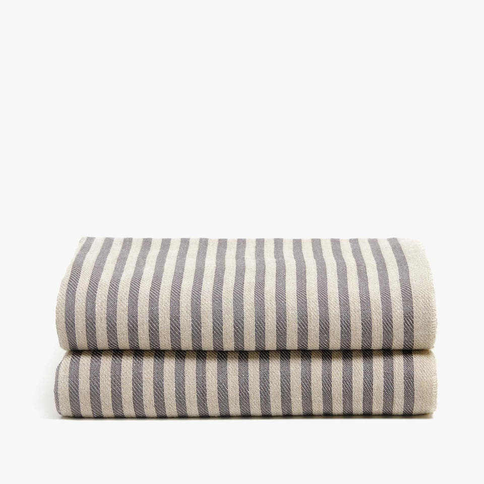 TWO-TONE STRIPED LINEN BLANKET