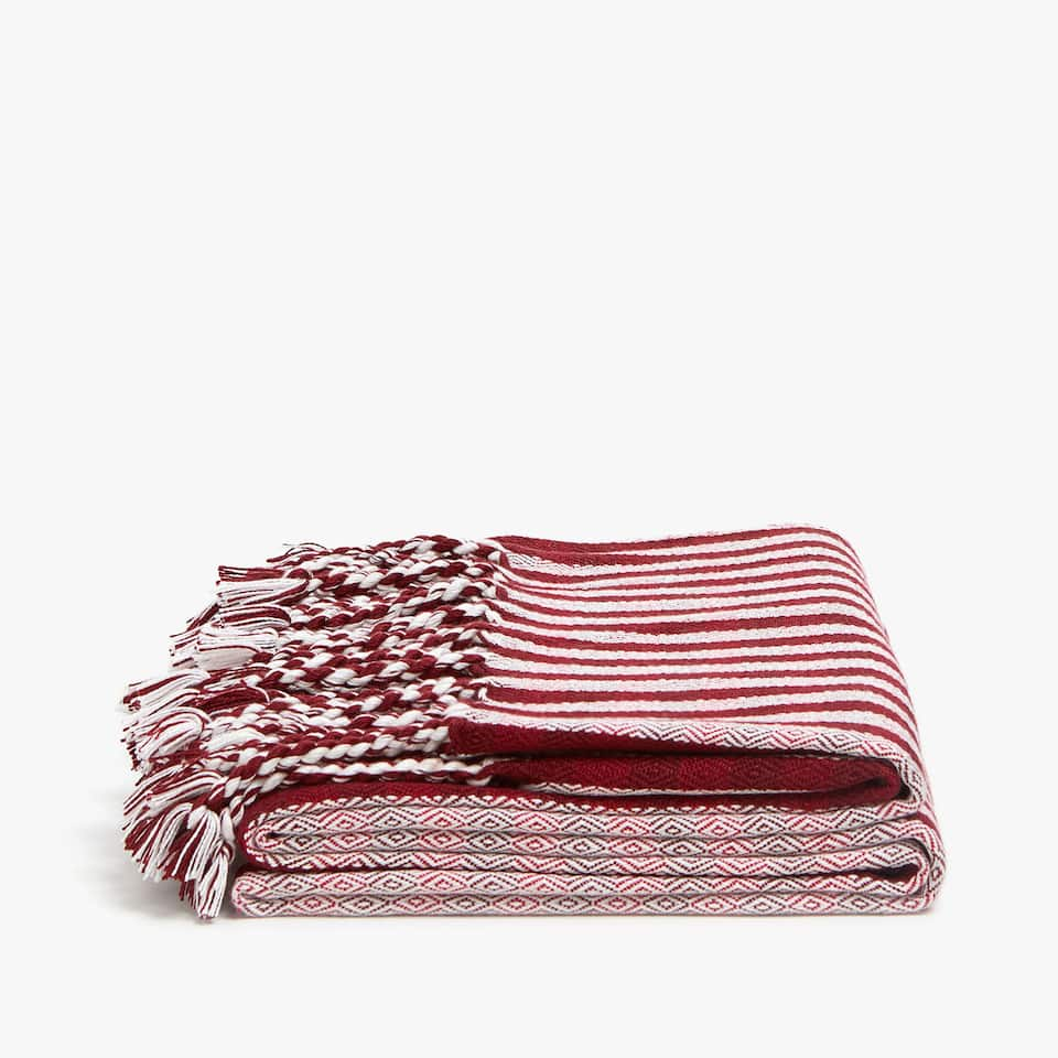 TWO-TONE STRIPED BLANKET WITH FRINGE