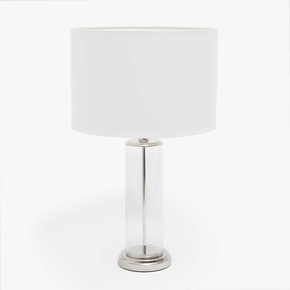 LAMP WITH A HOLLOW CYLINDRICAL GLASS BASE