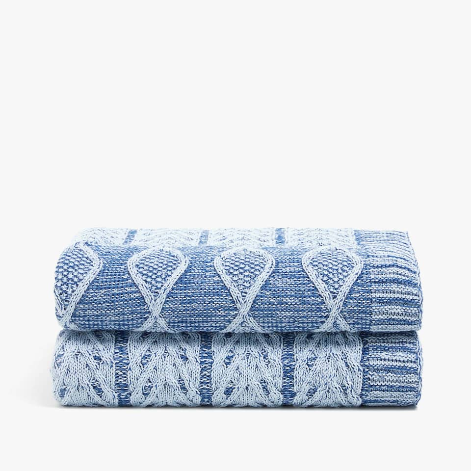 WASHED-EFFECT CABLE-KNIT BLANKET