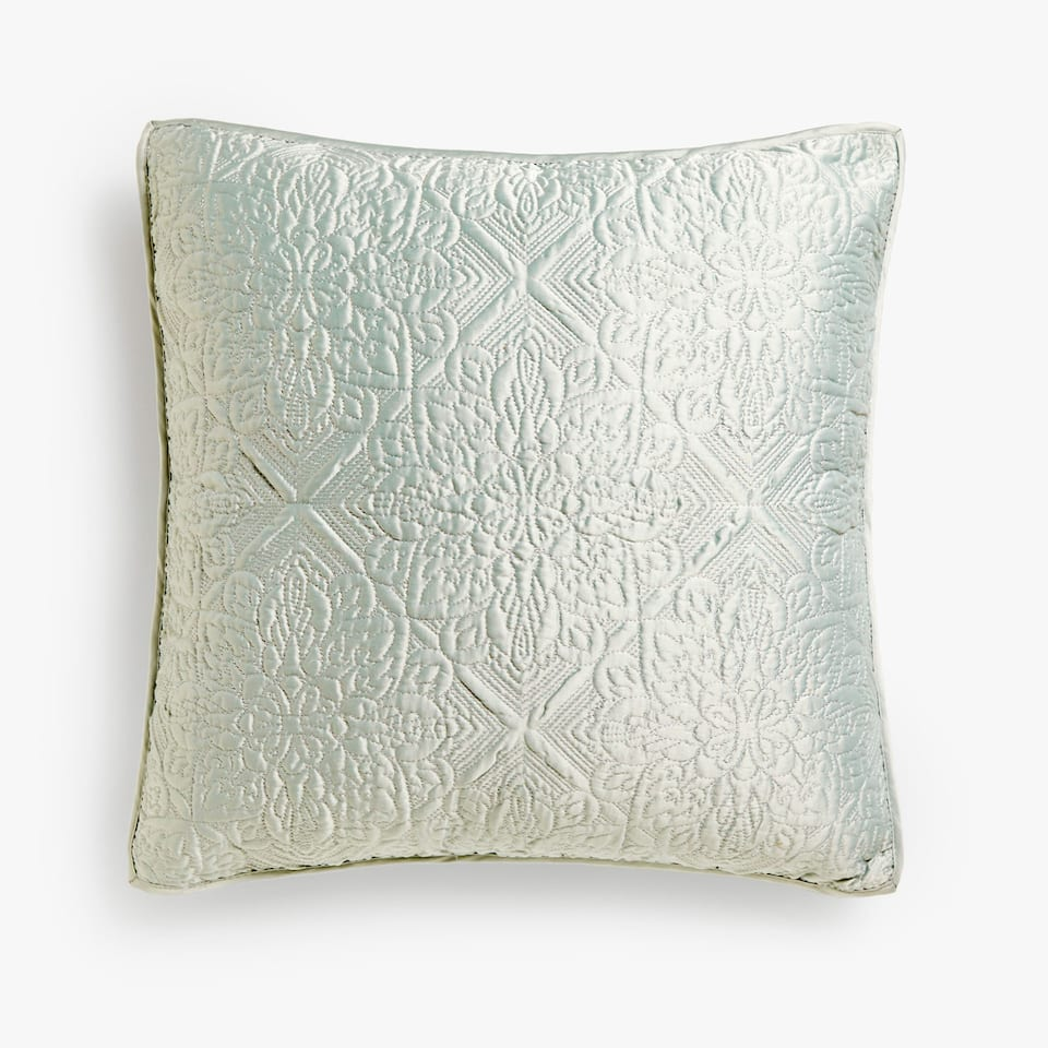 FLORAL DIAMOND-PATTERN CUSHION COVER WITH METALLIC THREAD
