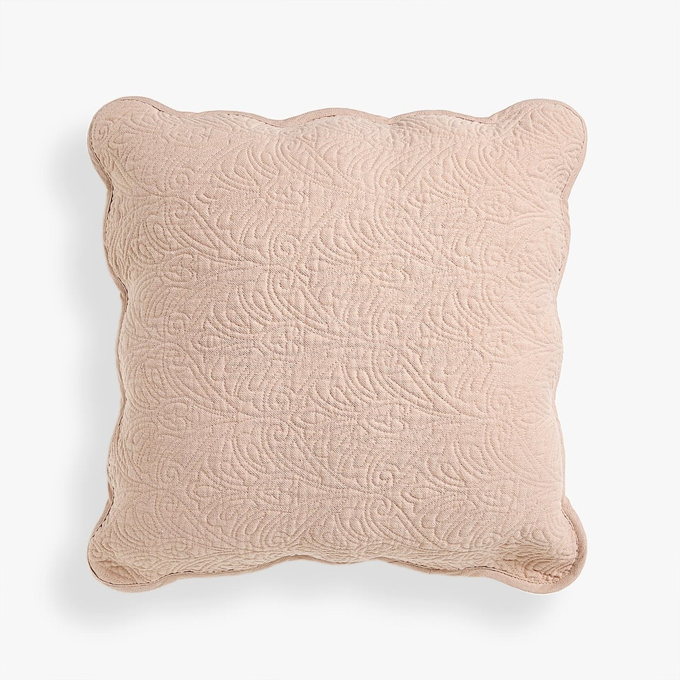 METALLIC COTTON JACQUARD CUSHION COVER WITH SCALLOPED EDGE