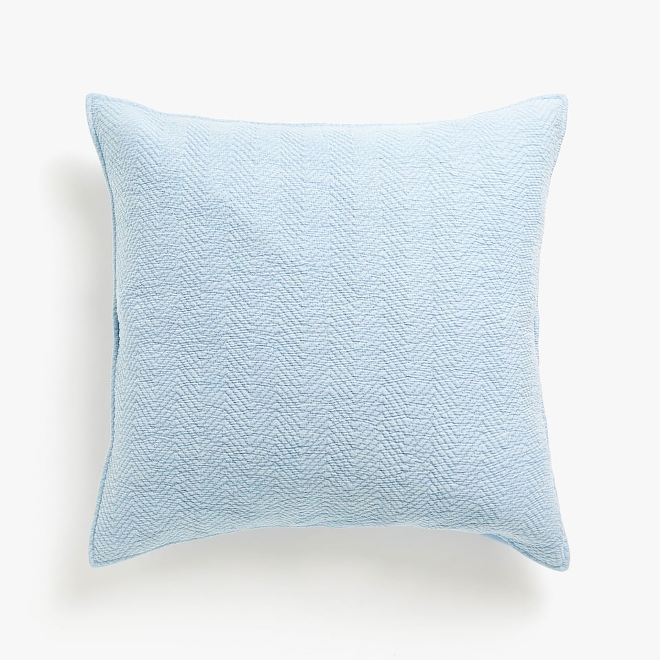 HERRINGBONE PATTERN FADED COTTON CUSHION COVER