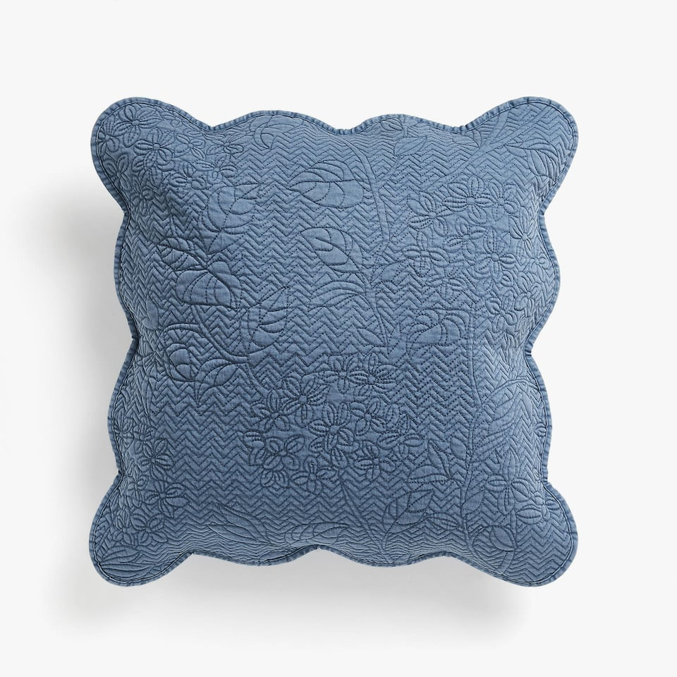 DENIM-EFFECT FLORAL DESIGN CUSHION COVER