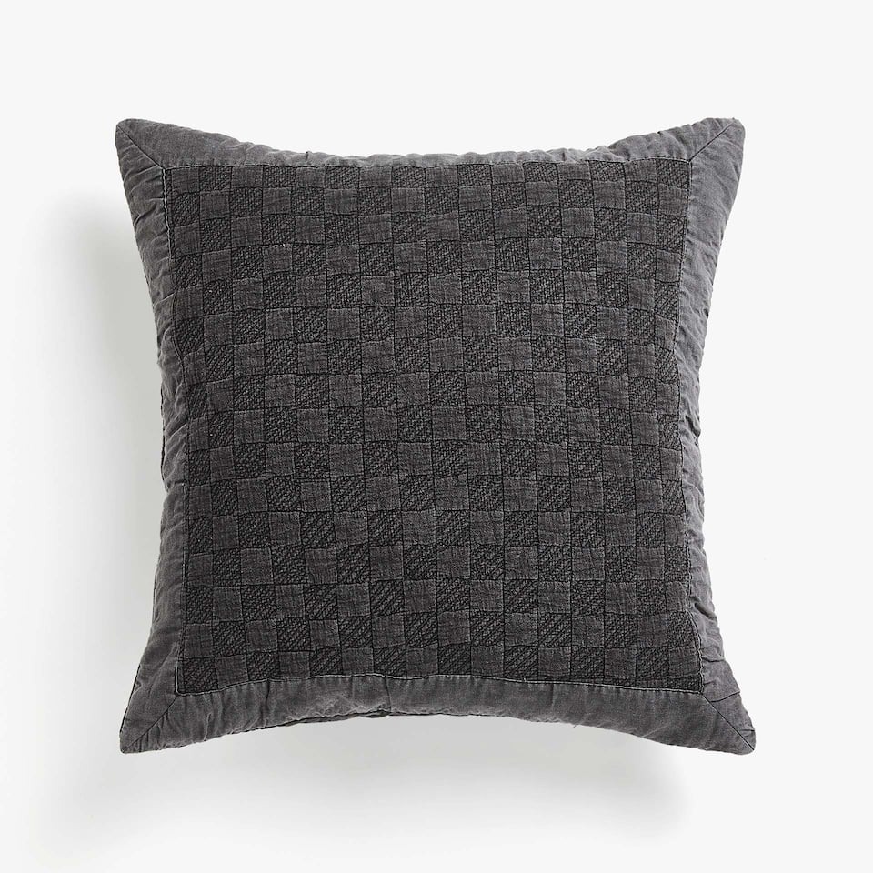 LINEN-EDGED CHECKED FADED COTTON CUSHION COVER