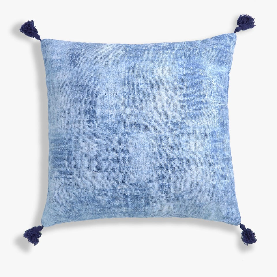 PRINTED COTTON AND LINEN CUSHION COVER WITH POMPOMS