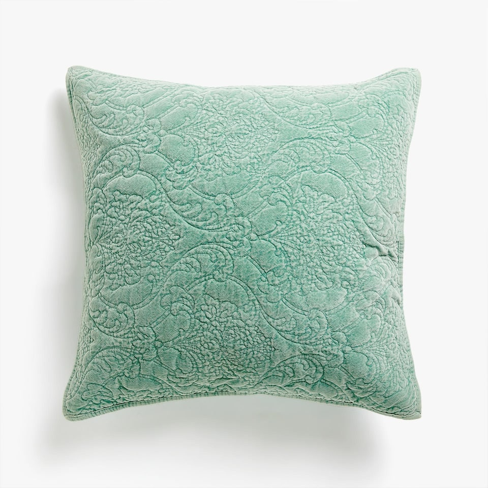 FADED VELVET CUSHION COVER WITH DAMASK DESIGN