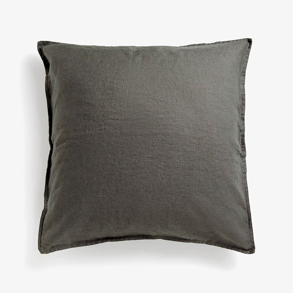 FADED LINEN CUSHION COVER WITH TOPSTITCHING