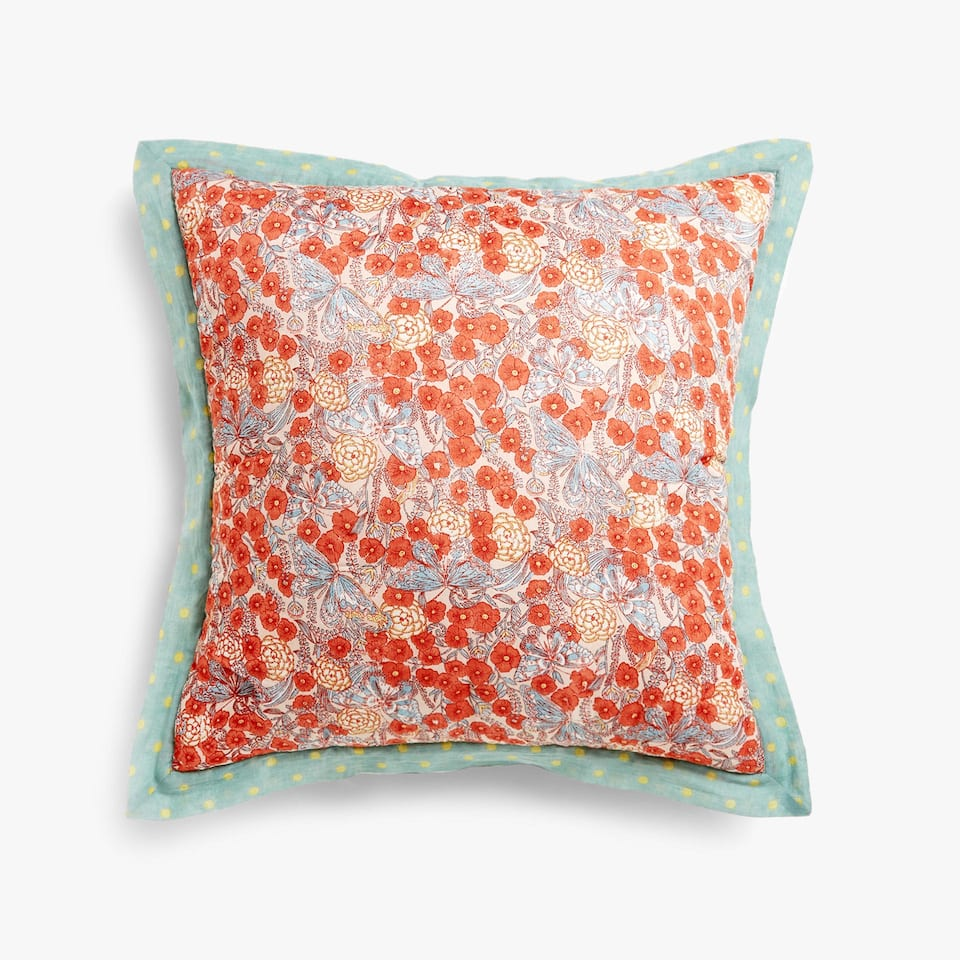 MULTICOLOURED REVERSIBLE FLORAL PRINT CUSHION COVER