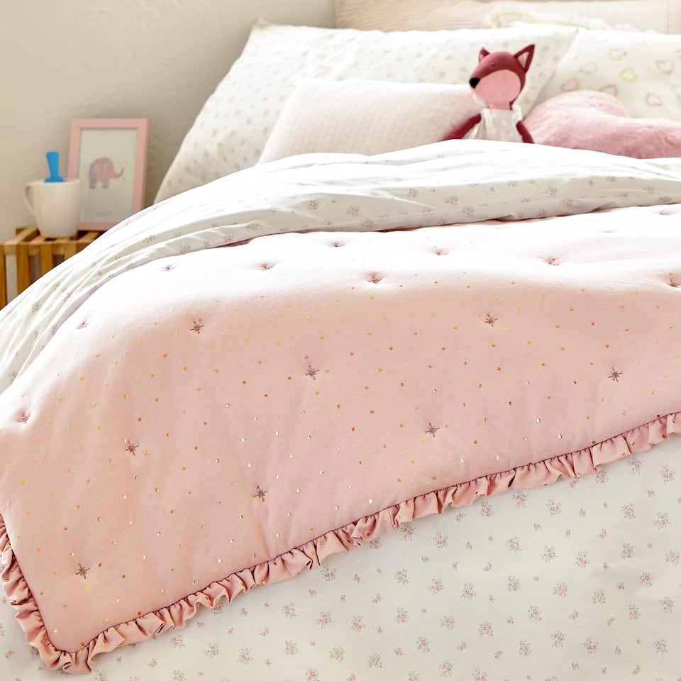 SHINY POLKA DOT JERSEY BEDSPREAD WITH FRILLS