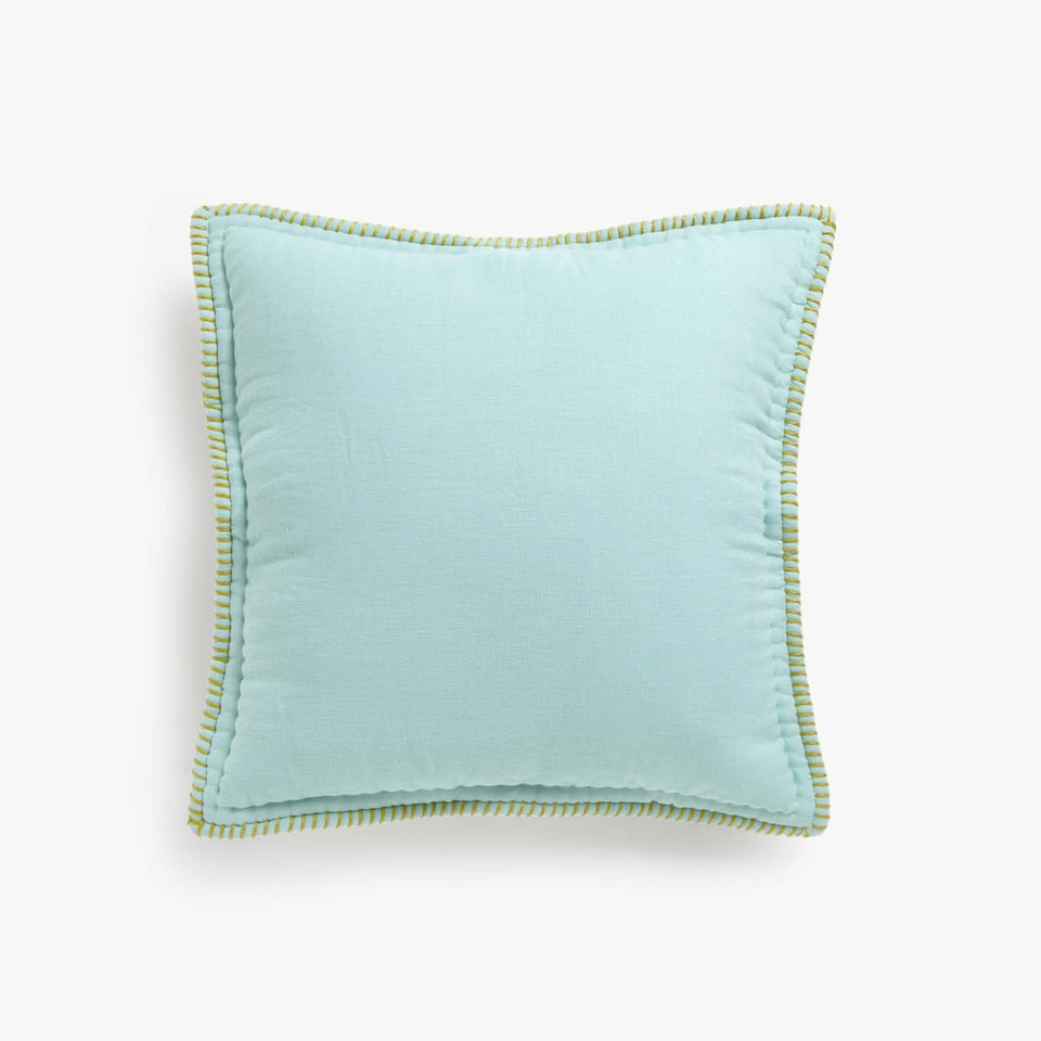 LINEN CUSHION COVER WITH CONTRASTING TOPSTITCHING