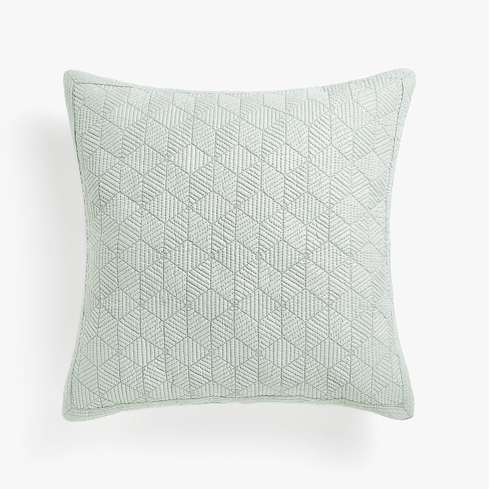 METALLIC-EFFECT COTTON CUSHION COVER WITH GEOMETRIC DESIGN
