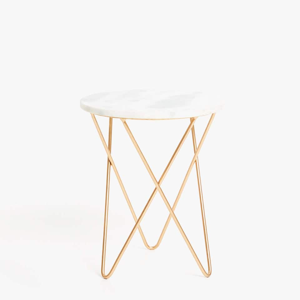 MARBLE TABLE WITH CROSSED METAL LEGS