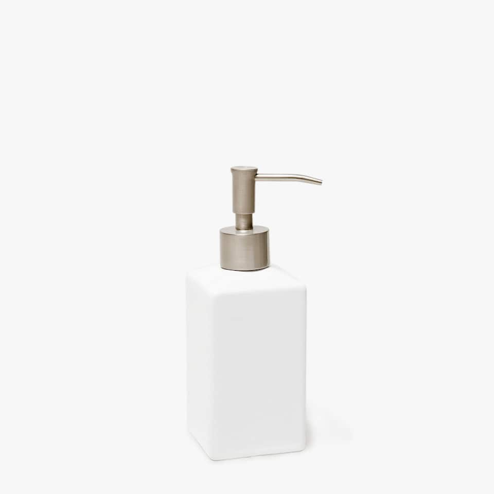 SHINY EARTHENWARE SOAP DISPENSER