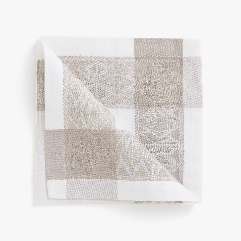 LINEN AND COTTON NAPKINS WITH CONTRASTING GEOMETRIC BORDER (SET OF 4)
