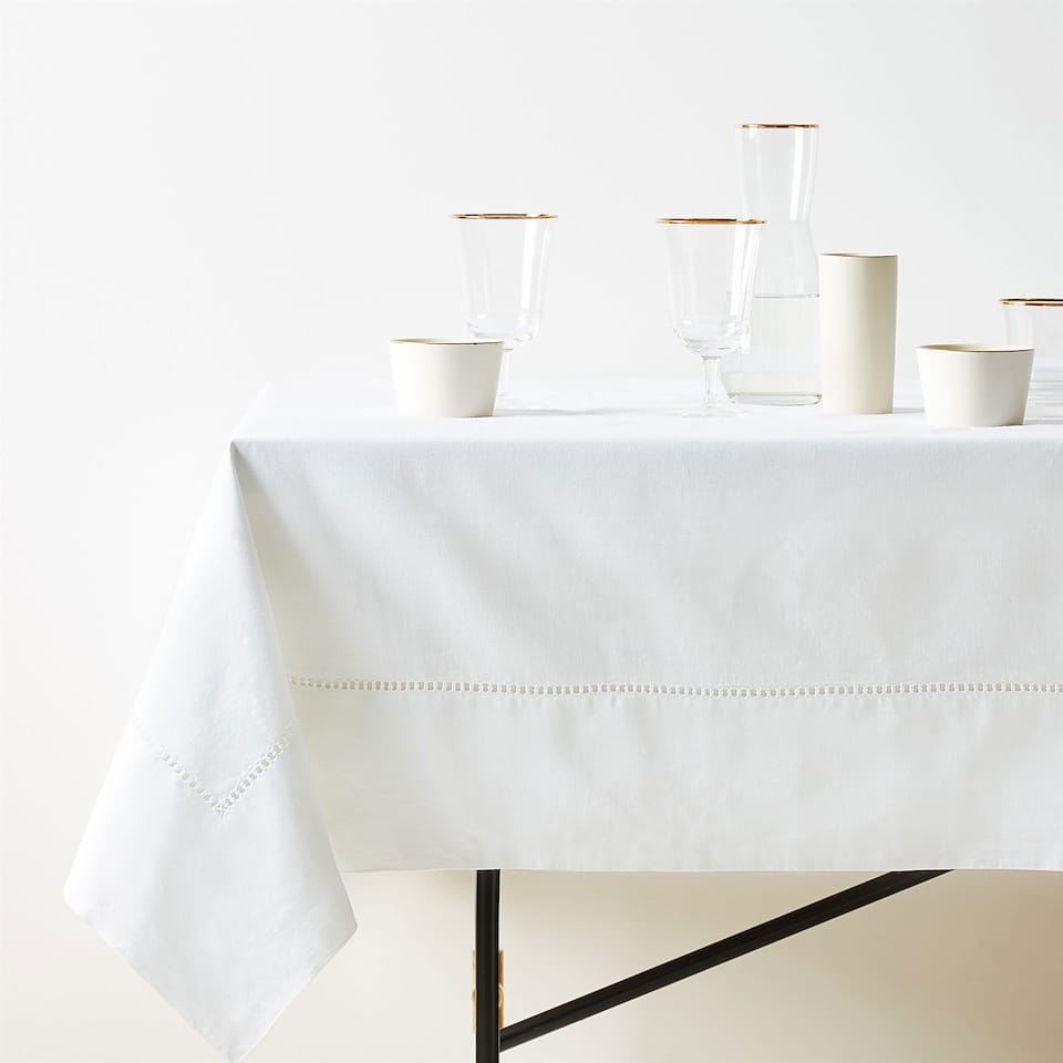 HEMSTITCHED RAMIE AND COTTON TABLECLOTH